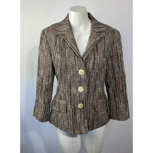 Lafayette 148  Blazer Metallic Wool Blend Pockets